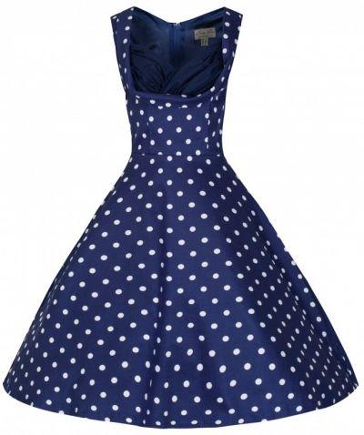 POSHme - LindyBop šaty Ophelia, modré s puntíky