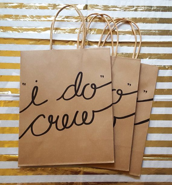 I Do Crew Bridal Party Kraft Gift Bags with Handles by leeshyanna