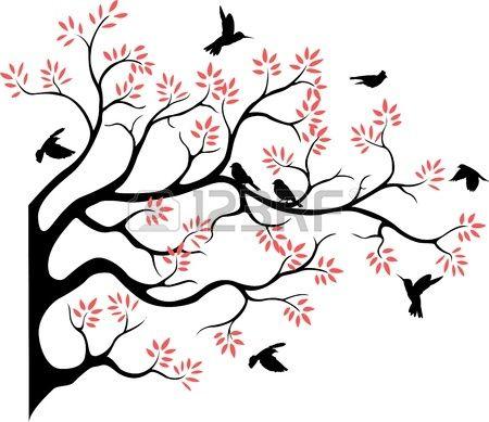 beautiful tree silhouette with bird flying Image ID : 14524210