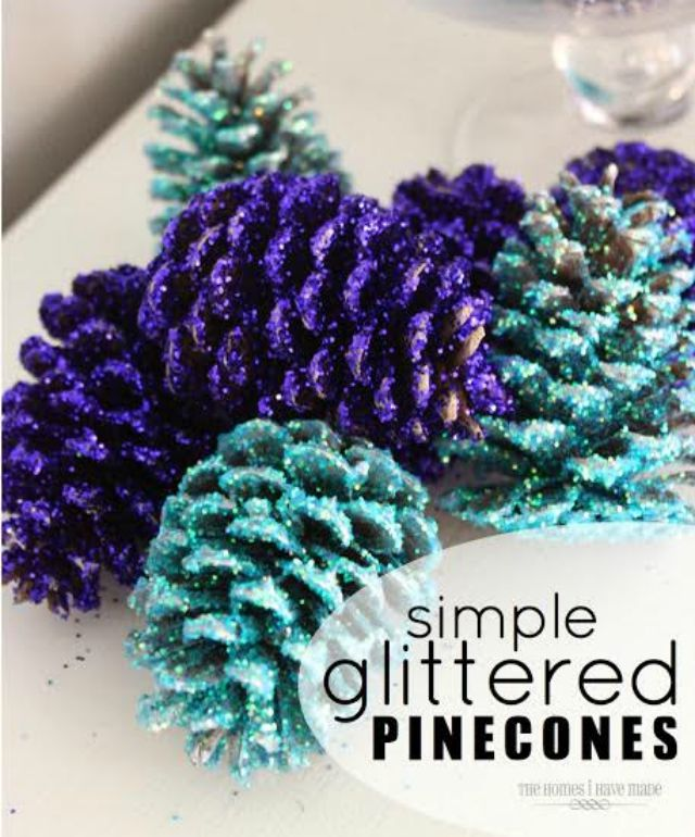 5 Purple Projects to Make with Kids: Simple Glittered Pinecones