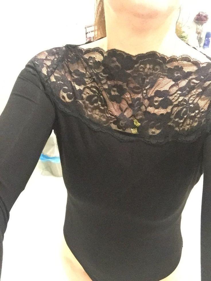 Tienda Online Colrovie sexy encaje negro body de manga larga top mujeres coreanas clothing otoño negro floral del cordón del cuello de manga larga traje | Aliexpress móvil