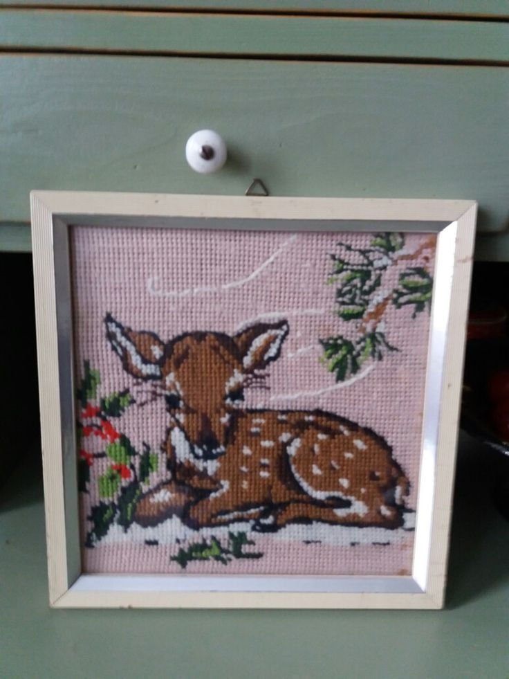 Little cutie, petit point bambi from the flea market.
