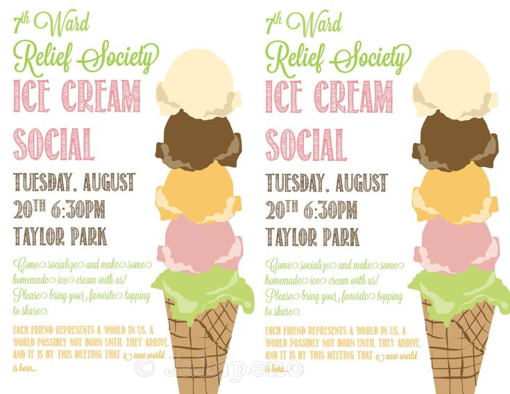 ice cream social flyer invitation digital custom by