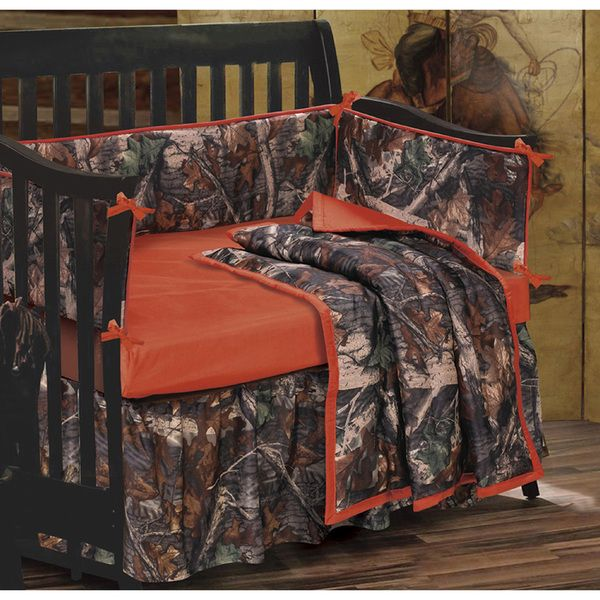 Boy Crib Set Camo 4 Piece Nursery Bedding Outdoor Brown Hunting Tree Baby Son