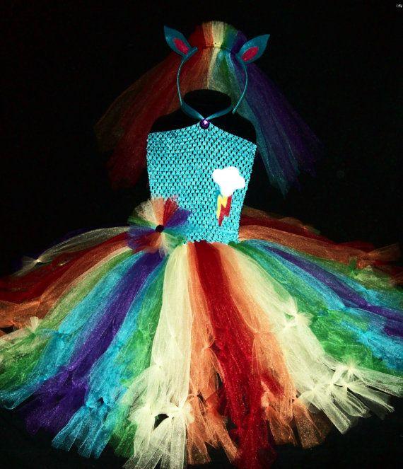 3pc RAINBOW PONY Tutu Dress Costume Set, Rainbow Dash, Cutie Mark, Pony Headband, Childrens Dress-Up, Cosplay, Toddler, Girls, Dance Recital