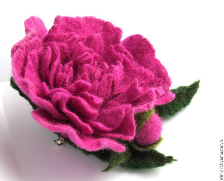 Купить войлочная брошь Пион Розовый джаз - розовый, ярко розовый, пионы, цветы