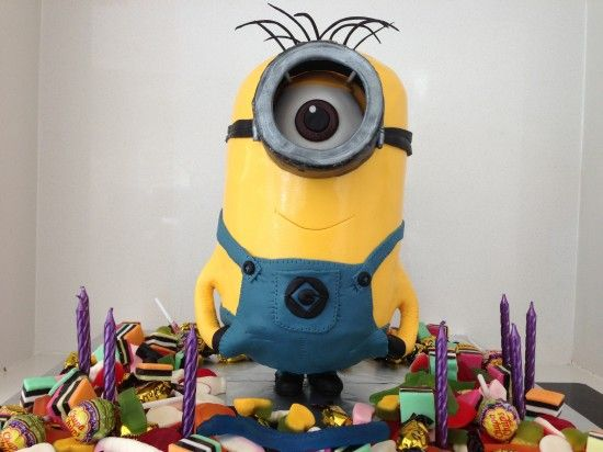 Despicable Me 2 3D Minion Cake Decorating Tutorial (details of the cake tuts) by How to Cook That with downloadable template.