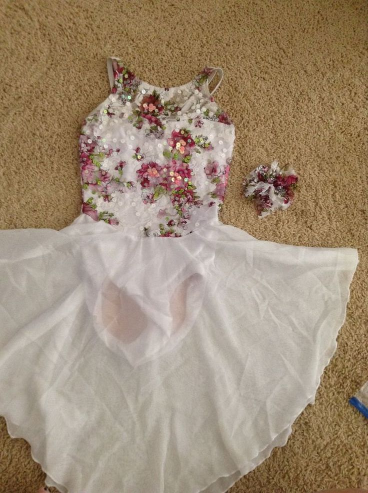 White Lyrical Competition Dance Costume sz 10-12