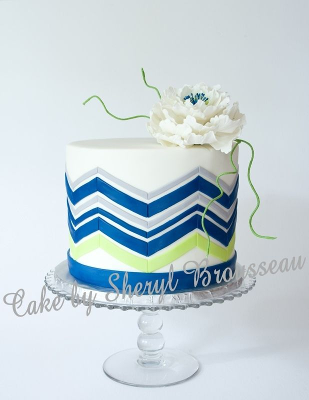 chevron cake baby shower baby shower cakes pinterest