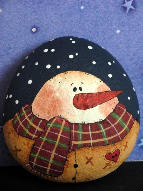 Folk Art Snowman Paperweight - Handpainted