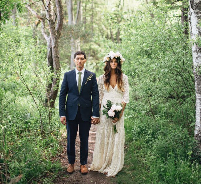 Backyard Milwaukee wedding with a gorgeous flower crown + lace BHLDN dress