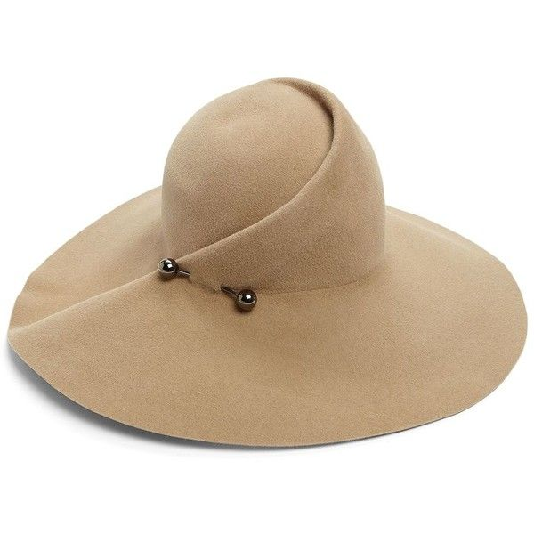 Eugenia Kim Catherine Sculpted Rabbit Felt Floppy Hat (1 680 PLN) ❤ liked on Polyvore featuring accessories, hats, apparel & accessories, camel, camel hat, vintage style hats, eugenia kim hat, brimmed hat and rabbit fur hat