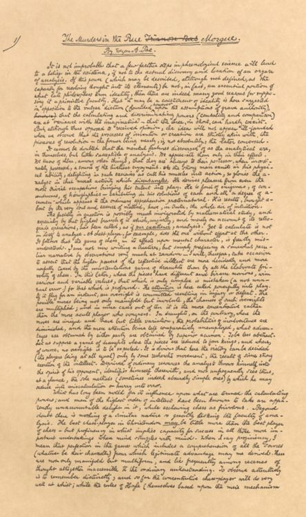 Edgar Allan Poe(1841)Original manuscript for The Murders in the Rue Morgue  www.artexperiencenyc.com