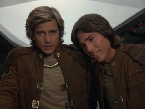 Still of Dirk Benedict and Richard Hatch in Battlestar Galactica (1978)