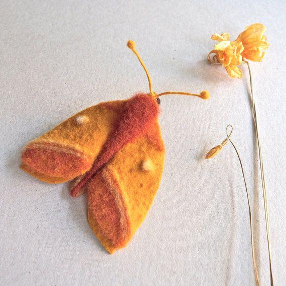 needle felted moth brooch - Oakworm Moth - textile moth - by TheLadyMoth on Etsy