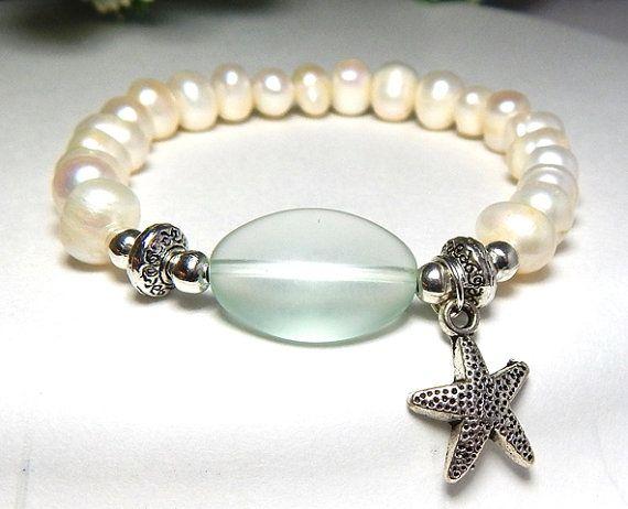 Süßwasser Perlen Armband, Meer Glasschmuck, Perlenschmuck, Seestern Charm Armband, Ocean Armband, Strand-Armband, Natur Jewerly