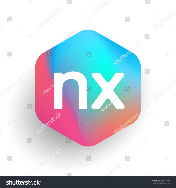 Letter NX logo in hexagon shape and colorful background, letter combination logo design for business and company identity.