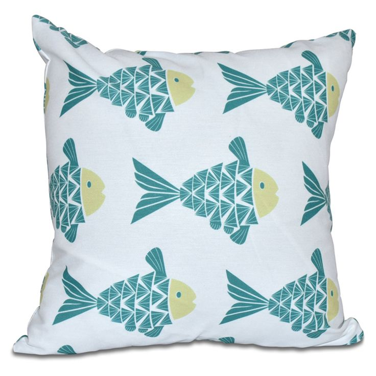 E by Design Beach Vacation Fish Tales Decorative Pillow - PAN426BL12GR21-16
