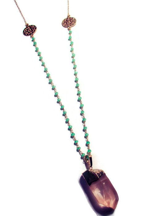 Quartz Bullet on Chalcedony Rosary Chain with by IZZIEandOLIN