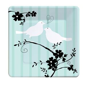 20418044 - Two Love Birds Luncheon Plates Two Love Birds Luncheon Plates, Square (18cm) Paper - Pack of 8. Please note: approx 14 day delivery time.