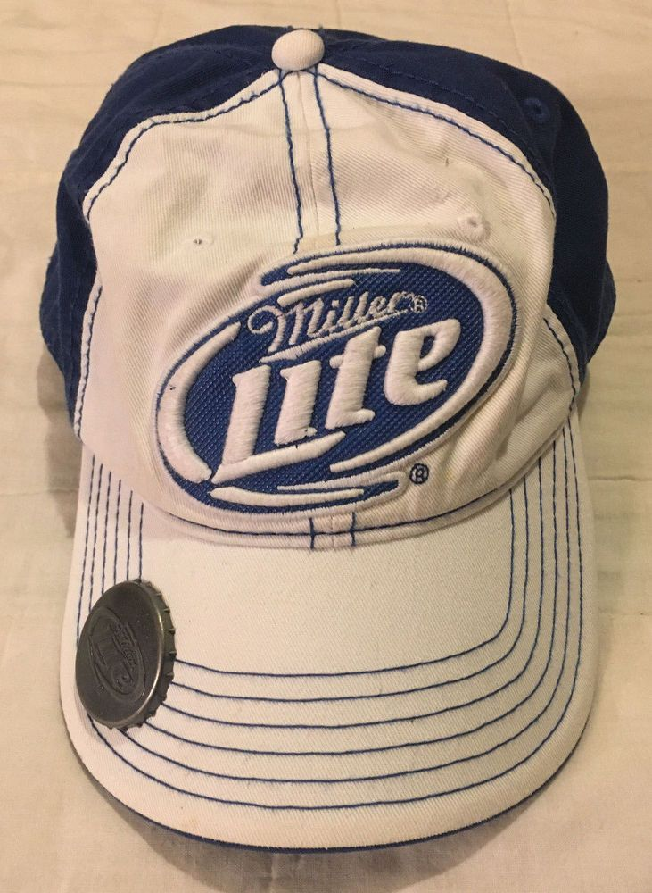 359df252db1f7 Mens White Blue OS Strapback Official Miller Lite Bottle Opener Cap Soft  Top Hat  fashion  clothing  shoes  accessories  mensaccessories  hats (ebay  link)