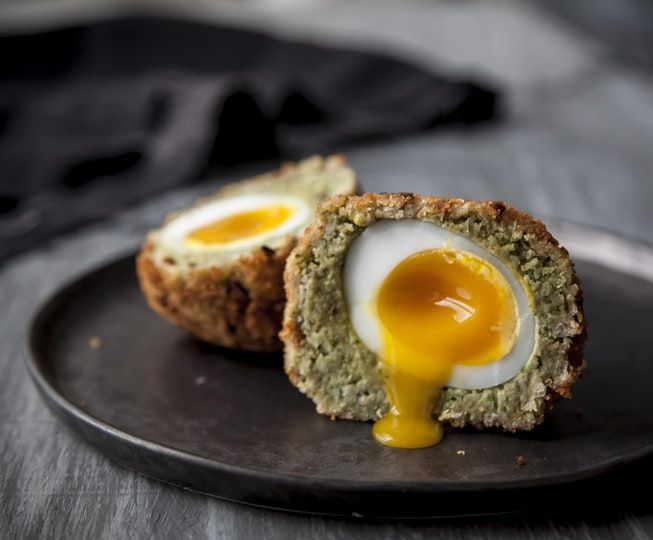 Falafel Duck Scotch Eggs  Recipe - vegetarian - This classic British pub snack gets a spicy Middle-Eastern makeover. Duck eggs have incredibly rich, creamy yolks and a higher yolk to white ratio to hens eggs, meaning the biggest, most decadent scotch eggs going.Perfect enjoyed just out of the oven with a runny yolk or cold with piccalilli or your favourite chutney.