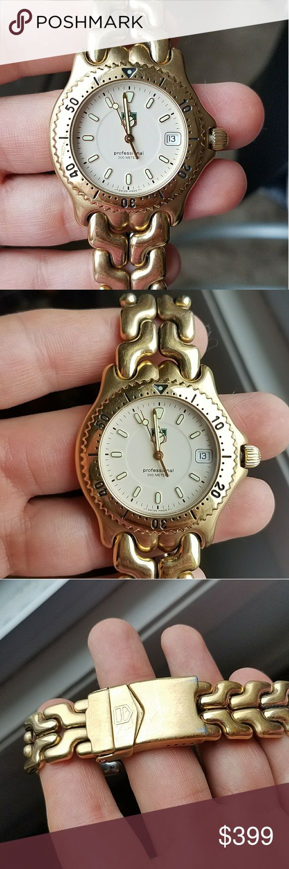 """Tag Heuer Mens Gold Professional watch link Authentic Tag Heuer Watch. No scratches on the crystal, fits 7"""" wrist. No box papers or extra links included. Tag Heuer Accessories Watches"""