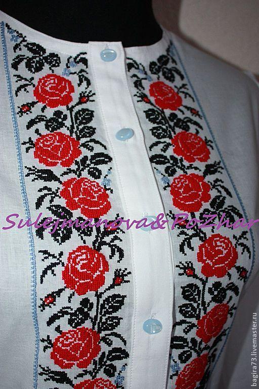 """Блузки ручной работы. Ярмарка Мастеров - ручная работа """"061"""" Красные розы. Handmade."""