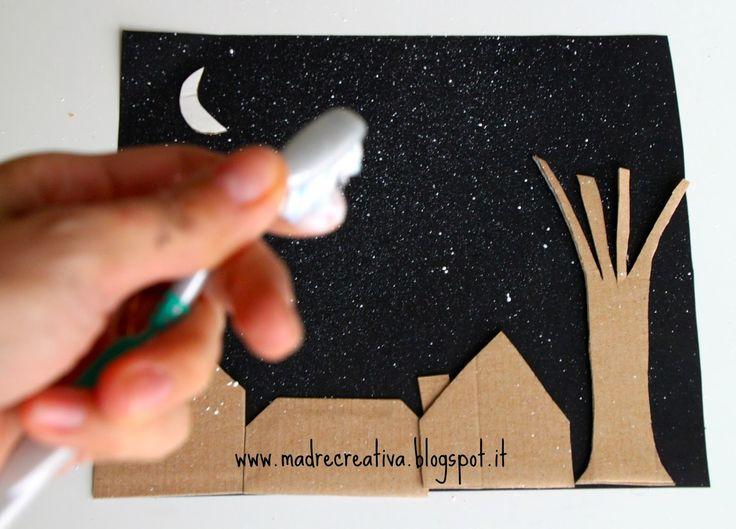 MadreCreativa: Dipingere con lo spazzolino da denti: notte d'inverno