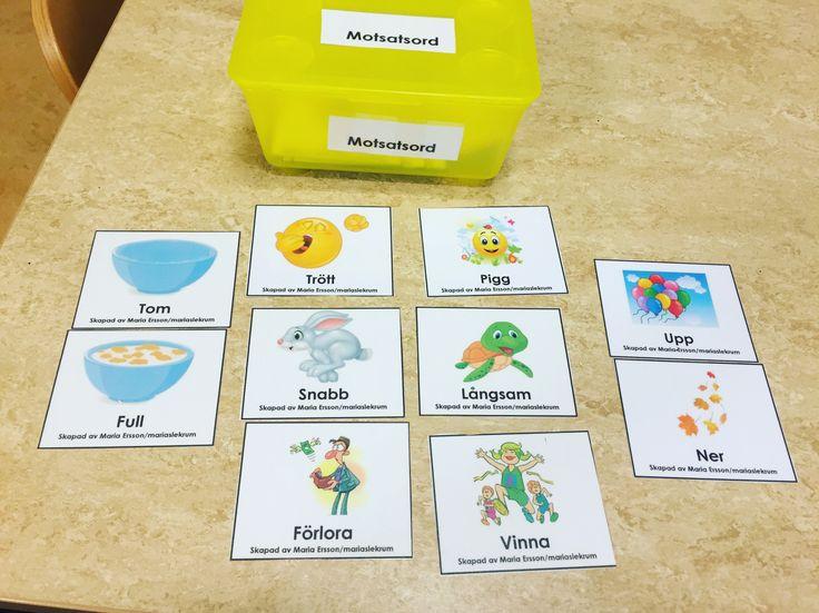 Motsatsord memory.Med materialet så utvecklas och stimuleras barnens språk men även öka begreppsbildning. Tanken är att barnen på ett spännande, roligt och lärorikt sätt ska försöka hitta de ord so…