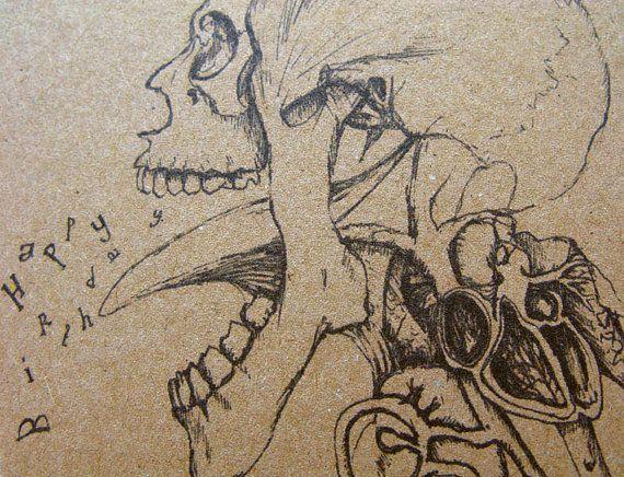 Skull Birthday Card Gothic Dark Sinister Art Drawing by Modru, €3.50