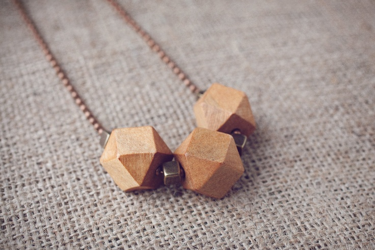 Geometric wood beads and golden acrylic square beads adjustable necklace with copper ball chain. $27.00, via Etsy.