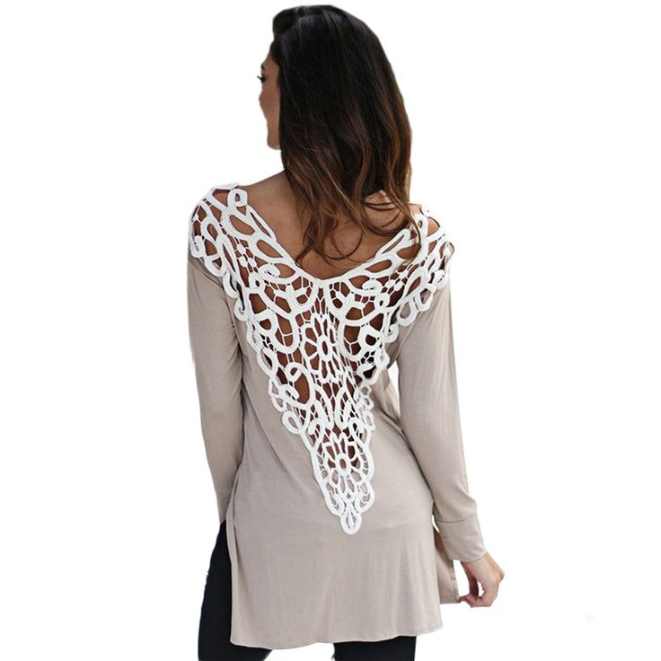 Spring Summer Sexy T Shirt Lace Crochet Women T Shirt Casual Tops Long Sleeve Backless T Shirt For Women poleras