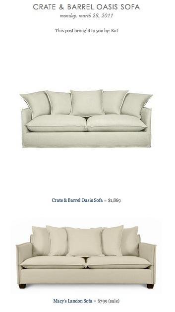 COPY CAT CHIC FIND Crate Barrel Oasis Sofa VS Macy 39 S Landon Sofa