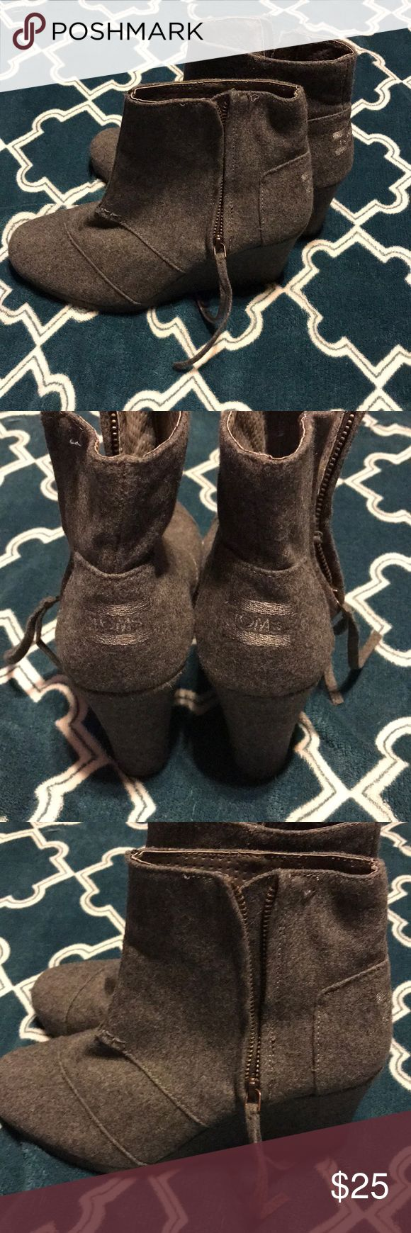Women's toms wedges grey Women's size 8 grey wedges great condition zipper in side very clean Toms Shoes Wedges