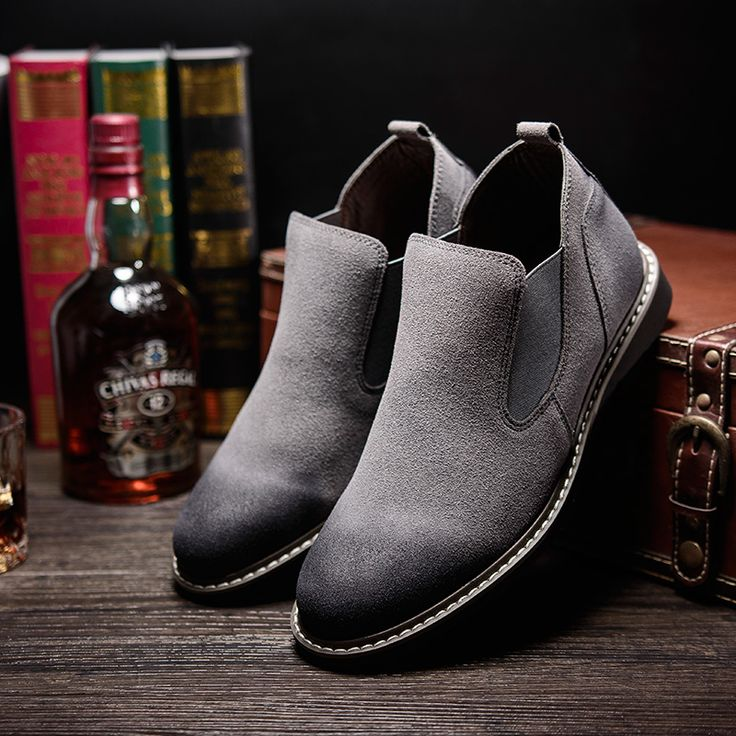 US $28 New Arrival 2017 Men Suede Shoes High Quality Winter Shoes Chelsea Boots Style Men's Casual Shoes Brand Man Slip On