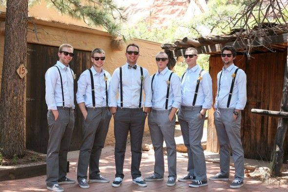 Groomsmen But With Mostly Navy Ties And Black Nice Shoes