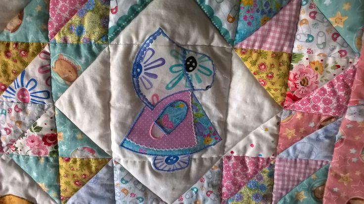 Patchwork copertina per culla - Patchwork baby quilt sunbonnet Sue