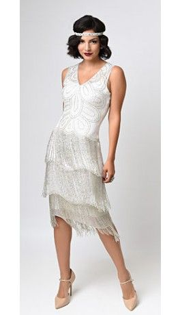 1920d White Beaded Gigi Chiffon Fringe Flapper Wedding Dress