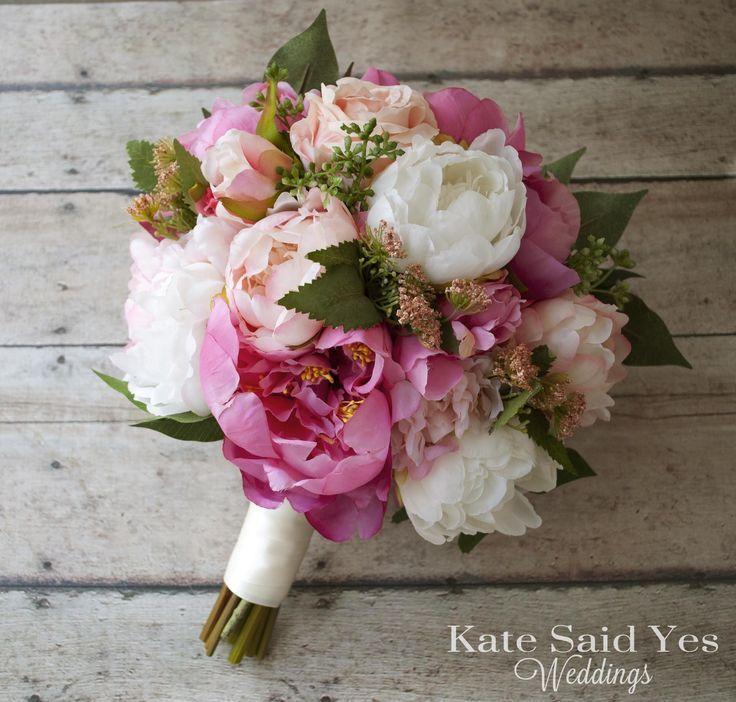 Silk Pink Peony Wedding Bouquet - Rustic Garden Bouquet