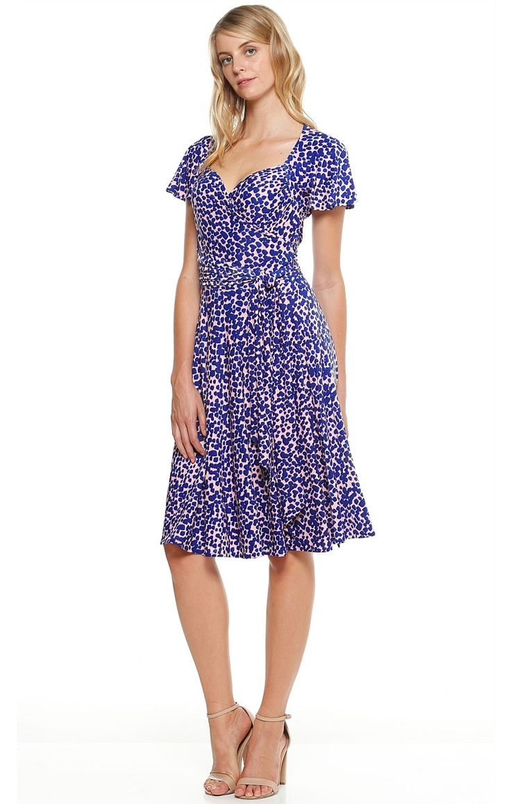 MAGIC HOUR FLUTED SLEEVE STRETCH WRAP DRESS IN BLUE PINK PRINT