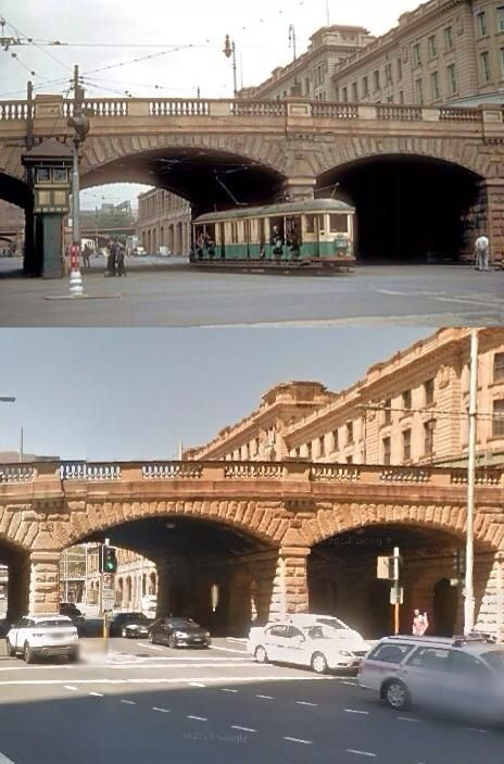 Eddy Avenue, outside Sydney's Central Station in December 1953 and March 2014. [Trove>Google Street View. By Phil Harvey]