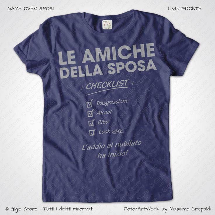 Magliette Addio al Nubilato Amiche della Sposa T-Shirt colore Indigo Stampa Personalizzata Argento Taglia XS, S, M, L, XL