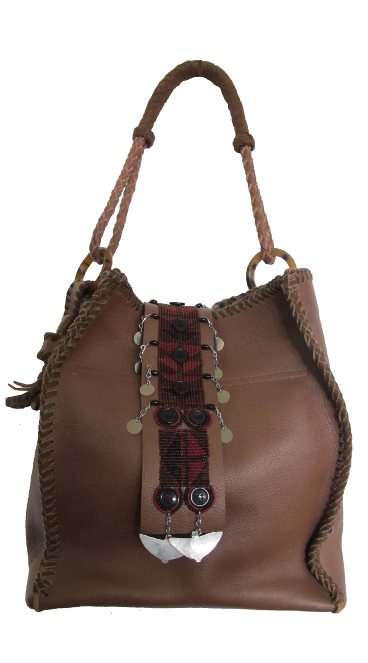 Isabella Bag in Brown with Maasai Embellishment. We deliver worldwide. Order now through sales@annatrzebinski.com or call the Aspen Store today on (970) 925 2848.
