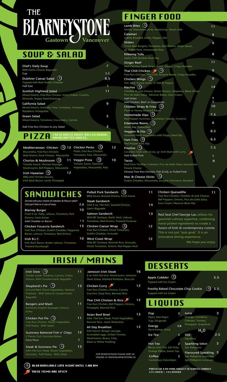 irish pub menu - Google Search