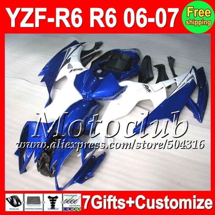 Синий белый 7 подарок + тела для YAMAHA YZF600 YZF-R6 06 07 YZF R 6 YZF 600 C9671 YZFR6 06-07 YZF R6 2006 2007 обтекателя глянцевый синий