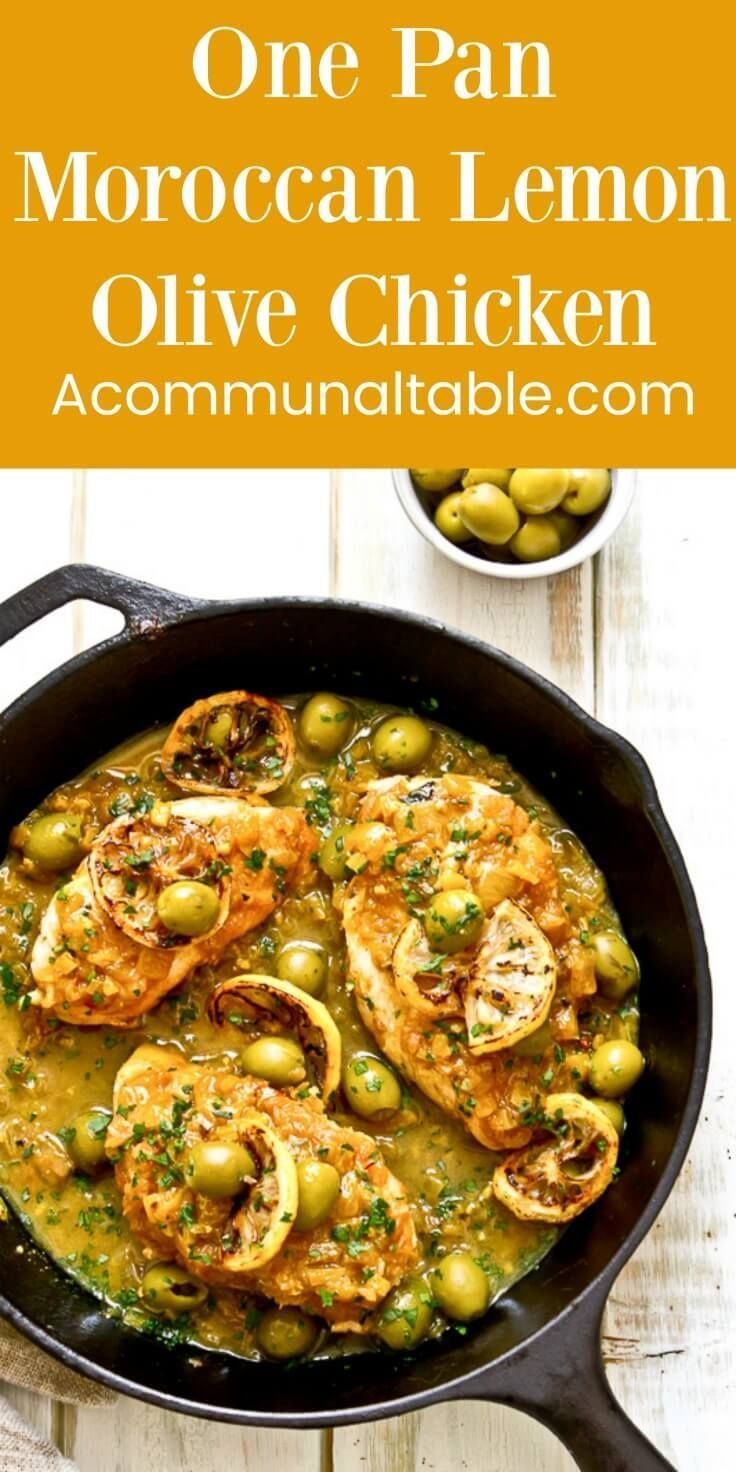 One pan moroccan lemon olive chicken is an easy, weeknight version of the classic moroccan tangine made with chicken, olives and lemons. #chickenrecipes #chickenrecipeseasy #onepandinner #onepan