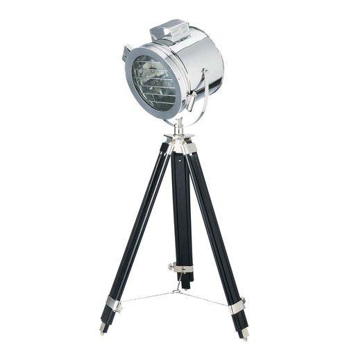 Lampadaire projecteur en métal chromé et bois H 128 cm GRAND ÉCRAN