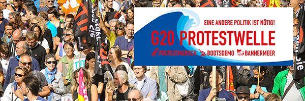 Wasserschlacht gegen Trauerspiel !  Dieser Gipfel ist nicht spitze!Im Juli blickt die Welt nach Hamburg:Donald Trump, Wladimir Putin+ Recep Erdogan kommen zum G20-Gipfel.Allesamt Autokraten, die für üblen Nationalismus stehen.Wir wollen sie mit einer großen Protestwelle empfangen +gleichzeitig klar machen:Es gibt gute Alternativen zur Konzern politik der G20-Staaten Protestwelle,das meinen wir übrigens wörtlich:Neben einem riesigen Protestmarsch kapern wir die Binnenalster mit hunderten…
