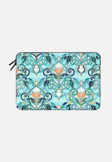 Ocean Aqua Art Nouveau Pattern with Peach Flowers sleeve Macbook Air 13 sleeve by Micklyn Le Feuvre | Casetify